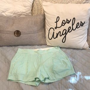 J Crew | Mint Green Striped Bermuda Shorts sz 2
